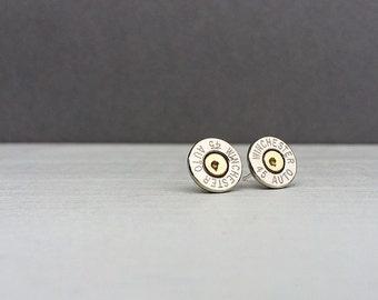 silver 45 winchester bullet earrings   sterling silver stud earrings   gift for him   gift for her