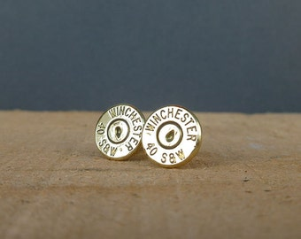40 caliber Winchester Remington bullet earrings   sterling silver studs   gift for him or her   bullet studs