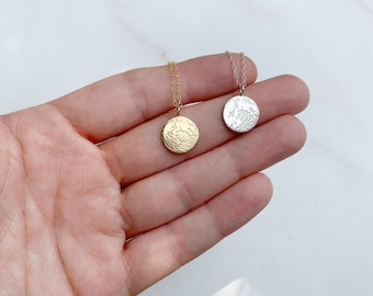 tiny full moon necklace | silver or gold | moon pendant | gold or silver layering necklace