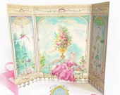 Marie Antoinette card, French Conservatory, Garden room, Parisienne decor, Petite Maison, diorama, roombox card