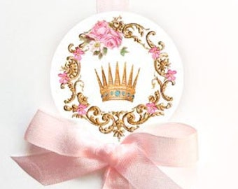Crown stickers, Fairy tale sticker, princess sticker, gold crown sticker, pink rose sticker, card-making, scrapbooking, party decor, pink