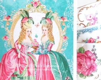 Marie Antoinette card, birthday card, tea party card, high tea, shower tea, card for her, friendship card, blank inside