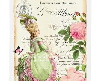 Marie Antoinette card, birthday card, friendship card, blank all occasion card