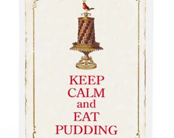 Keep calm and eat pudding Christmas card with red robin, vintage style holiday card, blank inside
