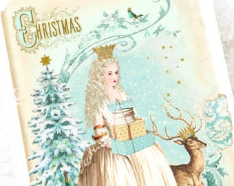 Christmas card, Snow queen with Christmas tree and deer, winter woodland, holiday card, blank inside
