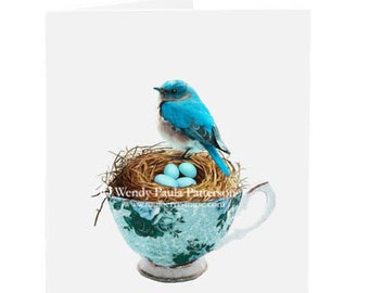 Blue bird in a teacup card, birds nest, eggs, Easter card, birthday card, blank, all occasion card