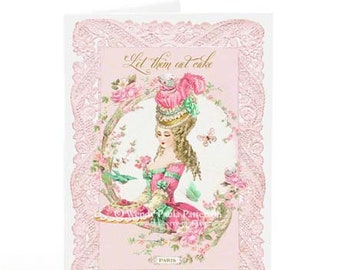Marie Antoinette card, let them eat cake, birthday card, friendship card, shower tea card, card for her, blank inside