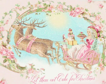 Marie Antoinette Christmas card, let them eat cake, reindeer sleigh ride, pink, Christmas holiday card, blank inside