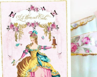 Marie Antoinette Let them eat cake card, birthday card, all occasion card, blank inside