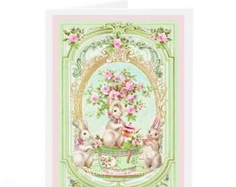 Rabbit card, Easter card, birthday card, new baby card, shower tea, blank card