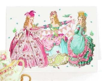 Marie Antoinette happy birthday card, pink for girls, blank inside
