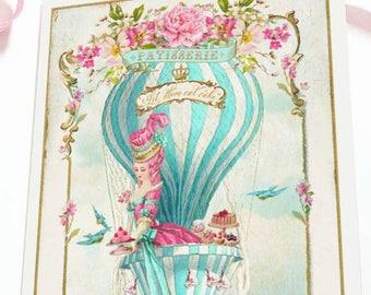 Marie Antoinette card, birthday card, friendship card, high tea in a hot air balloon, let them eat cake, blank inside