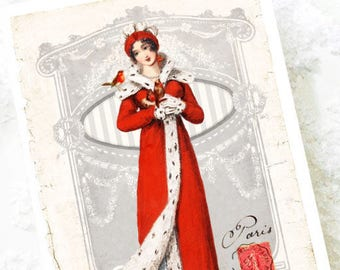 Jane Austen Christmas card, Regency lady in red, holiday card, French Christmas card, blank card