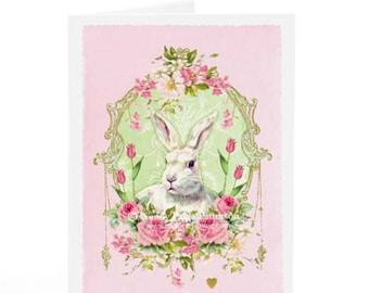 Rabbit card, bunny rabbit card, Easter bunny card, Easter card, vintage style card, baby card, birthday card
