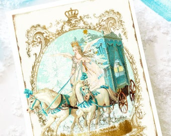 Snow Queen Christmas card, let it snow, snow globe, white horses, carriage, snow dome, holiday card