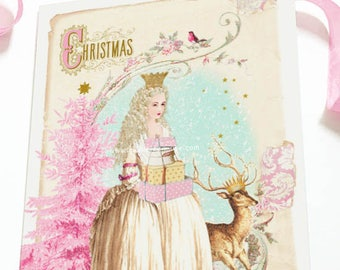Christmas card, Marie Antoinette, Snow Queen, deer card, white Christmas, pink Christmas tree, holiday card