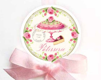 Cake sticker, Pastry sticker, French Patisserie sticker, vintage cake sticker, bakery sticker, scrapbooking, card-making, pink, party decor