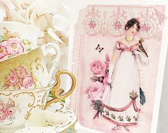 Jane Austen Emma, Regency lady in pink, birthday card, friendship card, blank all occasion card