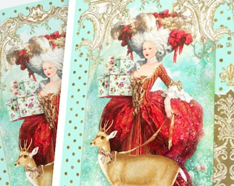 Marie Antoinette, Christmas holiday card, deer card, reindeer, French Rococo style, blank card
