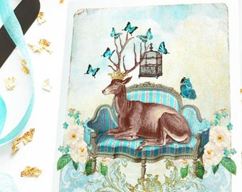 Deer card, deer on a French sofa, stag, birthday card, all occasion, blank card
