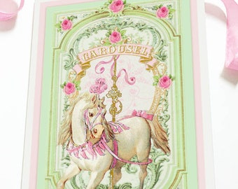 Carousel horse card, birthday card, romantic vintage style, baby card, all occasion blank inside