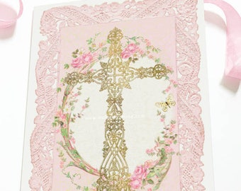 Christian cross, religious card, Easter card, Baptism, Sympathy card, Christian stationery, love card, blank inside