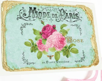 French vintage rose card, birthday card, friendship card, sympathy card, blank all occasion card