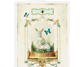Rabbit in a vintage Victorian glass display cloche, Easter, all occasion card