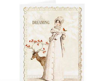 Christmas card, Jane Austen, deer card, dreaming of a white Christmas, Regency, holiday card, blank inside