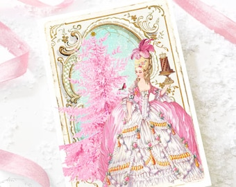 Marie Antoinette Christmas card, holiday card, pink for girls, with Christmas tree, robin and pudding, blank card