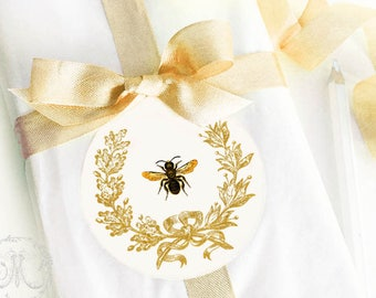 Bee sticker, French bee, Christmas sticker, acorn wreath, gift wrap, journals, diary, crafting, planner stickers, decoration, set of 4