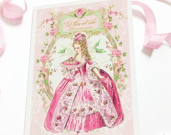 Marie Antoinette, Let them eat Cake, pink, birthday card, all occasion card