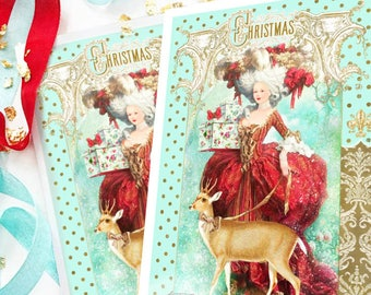 Marie Antoinette Christmas card, deer card, reindeer, French Rococo style, holiday card, blank inside