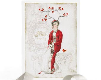 Jane Austen, Christmas card, woodland, dreaming, white Christmas, robin, red berries, antlers, lady in red, noel, holiday card