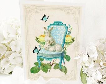 Rabbit card, Rabbits on a Regency chair, white rabbits, rabbit on a chair, Easter card, bunny rabbit, birthday card, blank card