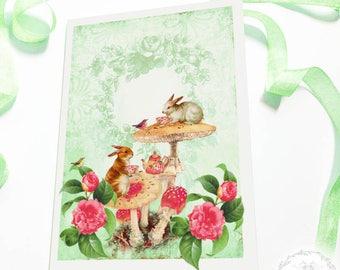 Rabbit card, woodland, forest, tea party, birthday card, Easter card, bunny rabbit, blank, all occasion card