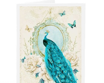 Peacock card, romantic card, wedding card, birthday card, vintage style, blank all occasion card