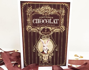 French chocolate, rabbit card, Easter card, birthday card, Anthropomorphic, card for men, all occasion card