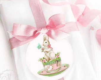 """Rabbit sticker, bunny in a teacup, tea party, baby shower, Easter sticker, glossy, circle sticker, 2.25"""" diameter"""