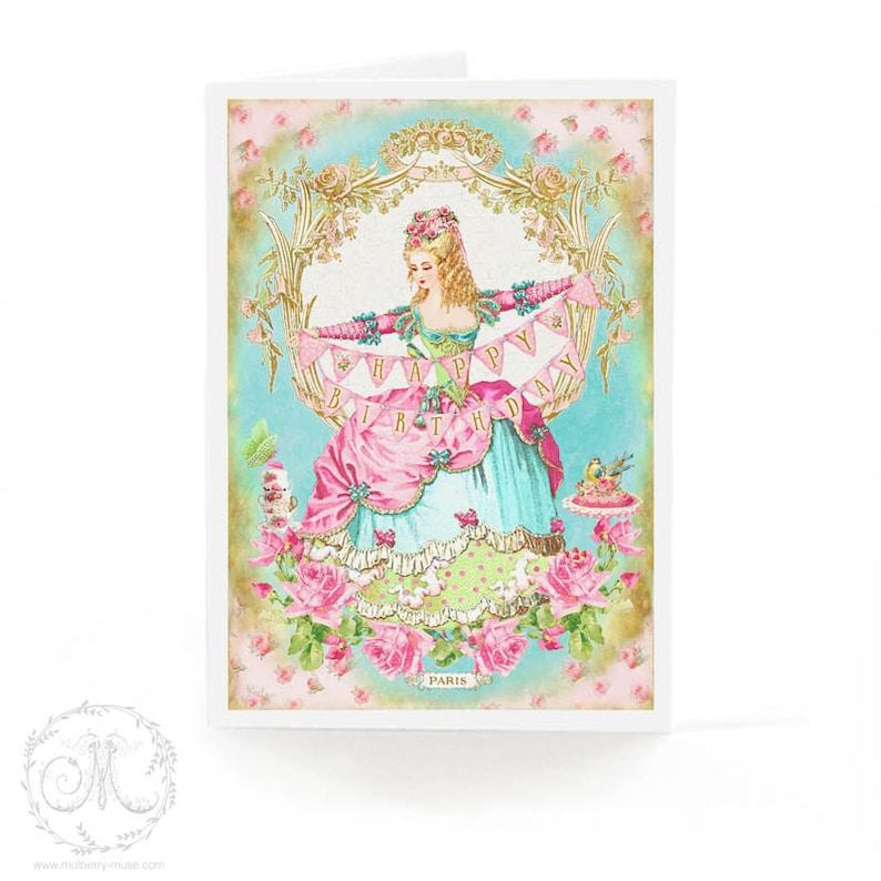 cake card Marie Antoinette happy birthday card birthday bunting