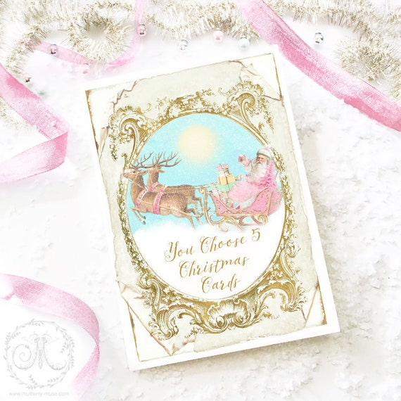 Christmas cards, you choose 5 cards, Marie Antoinette, Holiday cards, Deer cards, Vintage Santa Claus, French Christmas cards