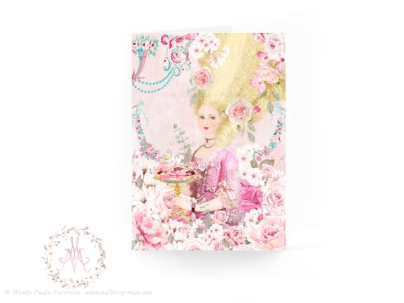 Bleu Cakes and Pink Rose Tea in the Garden for Marie Antoinette Set Invitations or Cards Set of 6