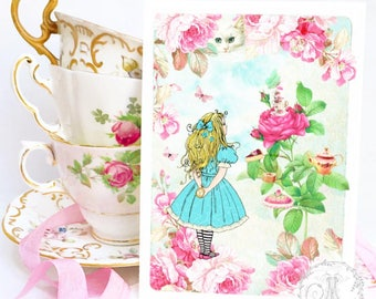 Alice in wonderland card, birthday card, tea party card, cheshire cat, all occasion card, blank inside