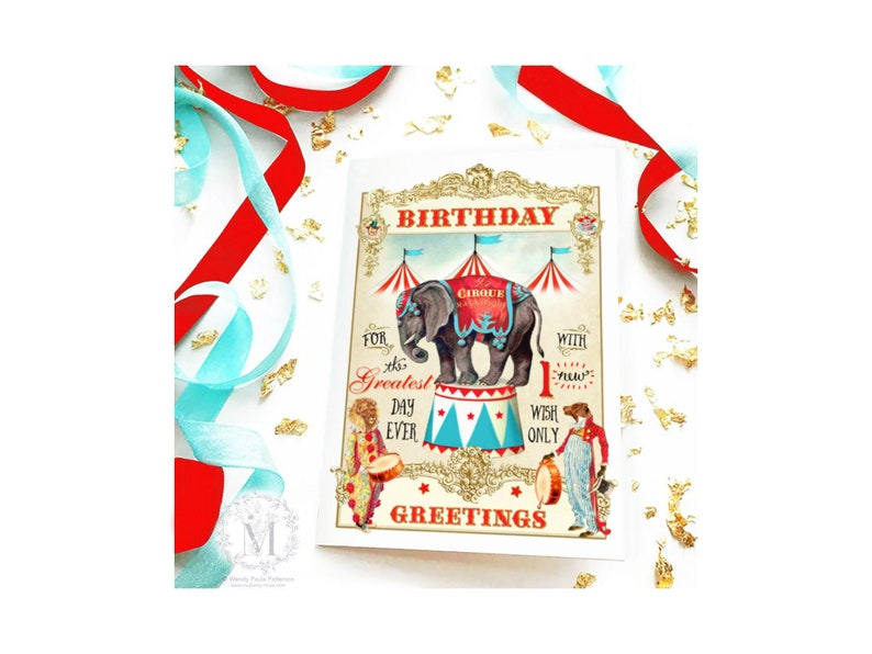 French Circus elephant birthday card clowns anthromoporphic image 0