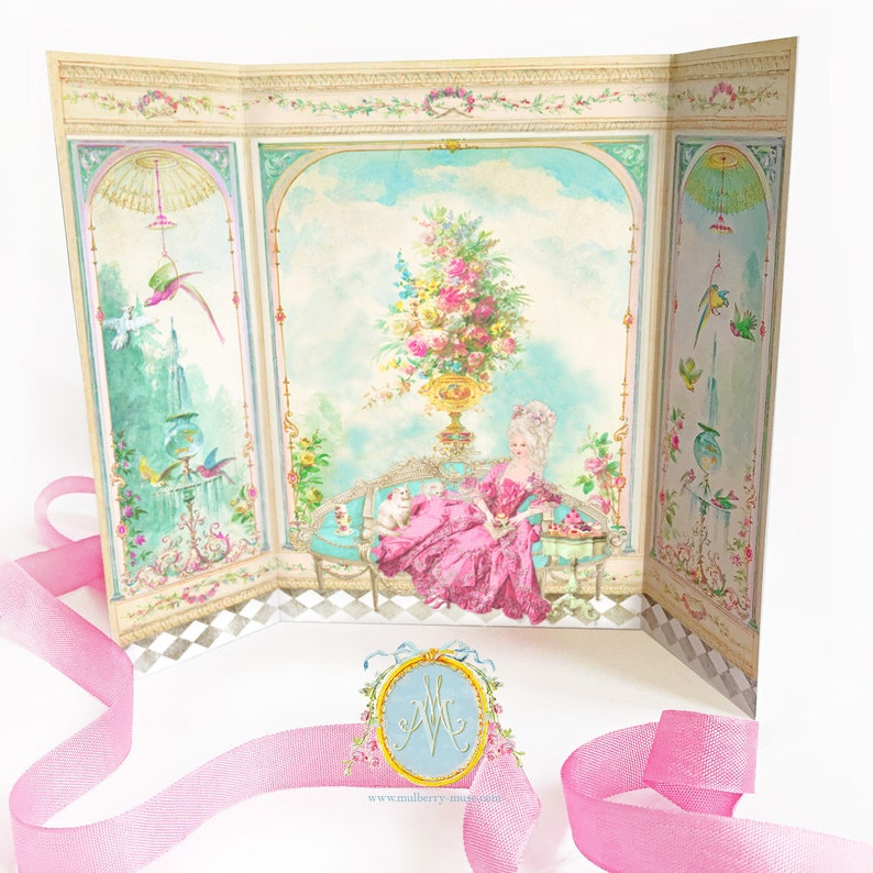 Marie Antoinette card, French Conservatory, Garden room, Parisienne decor,  Petite Maison, room box card
