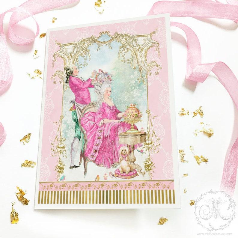 Rosa Weihnachten Marie Antoinette Franzosische Frisur Weihnachtskarte Weihnachtskarte Rokoko Barock