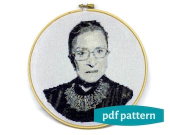 Ruth Bader Ginsburg Cross Stitch PDF Pattern, RBG Cross Stitch Pattern, 8 Inches, Embroidery Pattern