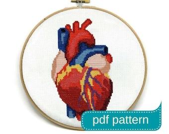 Anatomical Heart Cross Stitch Pattern - Heart Embroidery Pattern - Anatomical Cross Stitch - Heart Crosstitch - Heart Needlepoint Pattern