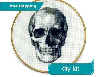 Anatomical Skull Cross Stitch Kit DIY - Everything You Need - Needlepoint Kit - 7 Inches