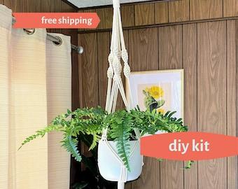Macramé Plant Hanger DIY Kit, Hanging Plant Holder